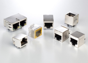 The RJ45 product range includes standing and flat designs, versions with top and bottom latching hooks, and versions for SMD or THR soldering methods.